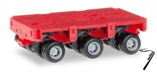 Divers . remorque de camion THP-SL 3 essieux rouge 1/87