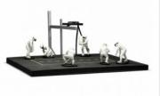 Divers Diorama Pit stop blanc avec 6 figurines  1/43