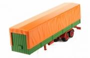 Divers . Auflieger Semi remorque de Sprinter à plateau avec Plane - orange / vert 1/43
