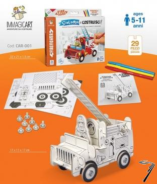 Divers . Véhicule de pompier en kit carton rigide à colorier et à monter - 29 pièces - 17 x 11 x 17 cm autre