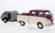 Volkswagen . (T1) rouge/beige avec caravane et surf 1/24