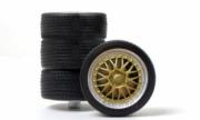 Divers Set de pneu sur jantes argenté/doré Set de pneu sur jantes argenté/doré 1/18