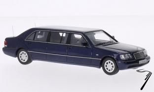 Mercedes . W140 Stretch Limousine bleu métallisé 1/43