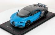 Bugatti Chiron Sport gris carbone/blue racing Français - avec aileron Sport gris carbone/blue racing Français - avec aileron 1/18