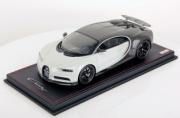 Bugatti Chiron Sport gris carbone/blue racing Français - avec aileron Sport gris carbone/gris rafale métallisé - avec aileron 1/18