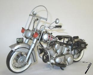 Harley Davidson Type Panhead Police - Repro artisanale aspect vieilli tout metal 35.5 x 15.5 x 22 cm  autre