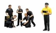 Divers set de 6 figurines mécaniciens JPS team Lotus  1/18