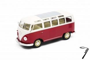 Volkswagen . Samba rouge/blanche 1/24