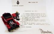 Alfa Romeo . TORPEDO - Lettre de Mussolini Nicola Romeo - avec figurine de Mussolini et lettre 1/43