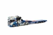 Scania . Topline Fassi 1100 remorque surbaissée Aaltonen 1/50
