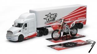 Peterbilt Camion team Two Two Motorsports + moto cross Honda #22 + tapis  1/32