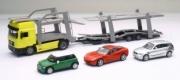 Man . transport de véhicules + mini cooper + BMW séries 1 + Chevrolet Coupé 1/43