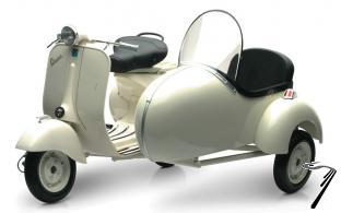 Divers Vespa Piaggio 150 VL1T avec side car  1/6