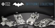 Divers . Batmobiles - Kits métals à monter - présentoir de 60 pièces + 1 modèle monté : 15 x 1966 - 10 x 1989 - 20 x 1941 - 15 x 2005 autre